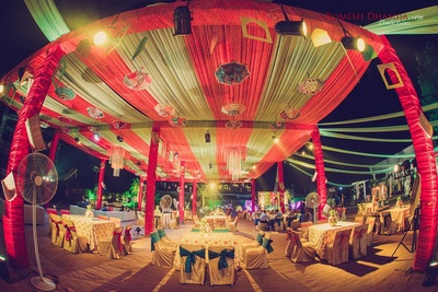 Colorful decor for the sangeet ceremony.