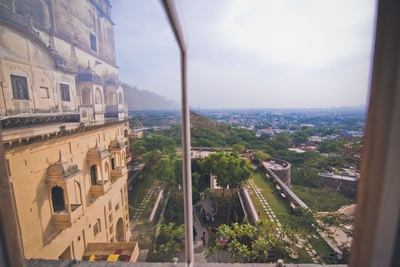 An eagle's view from the grand Neemrana Fort Palace, couple's wedding venue