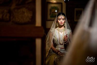 Bride Richa getting ready for the wedding function at  Bal Samand Lake Palace, Jodhpur