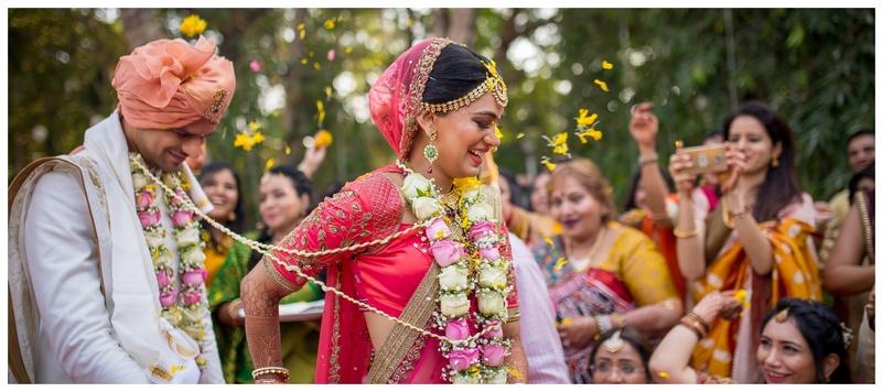 Mahek & Pranali Mumbai :  A pretty bride in a beautiful lehenga with a killer smile = bride goals!