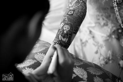 Human portrait intricately patterned as unique bridal mehendi designs