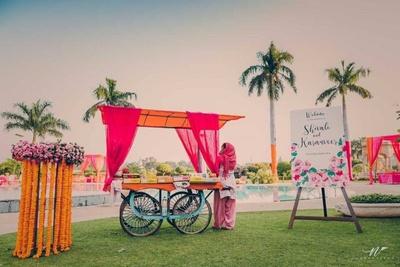 Genda Phool decor for haldi and mehendi ceremony