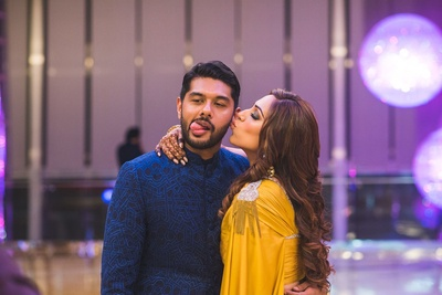 Quirky picture of the couple at their sangeet