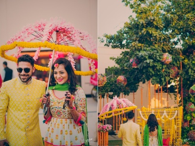 The gorgeous couple sport a floral umbrella as part of their attire
