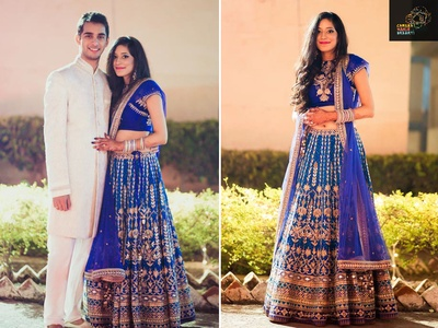 Dressed in a cobalt blue lehenga embellished with gota patti work by Anita Dongre for the sangeet ceremony
