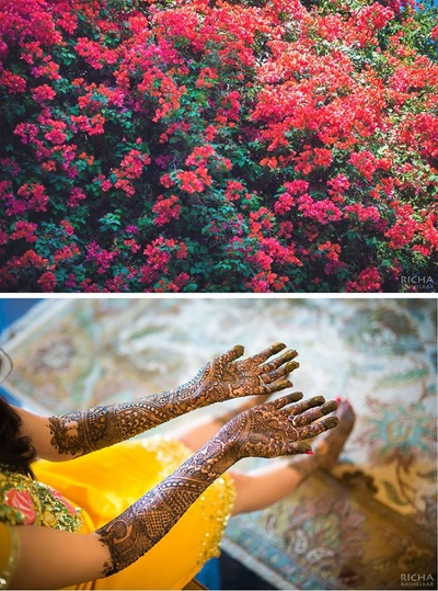 Arms covered with intricately patterned bridal mehendi design
