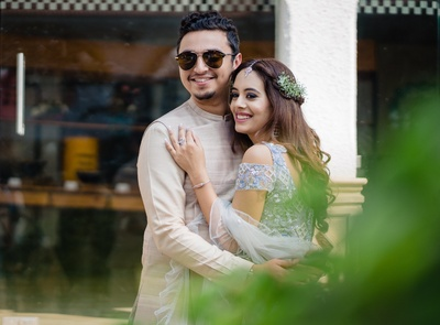 romantic picture of the bride and groom at a pre wedding function