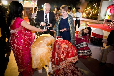 Blessing the couple, to stay happily ever after
