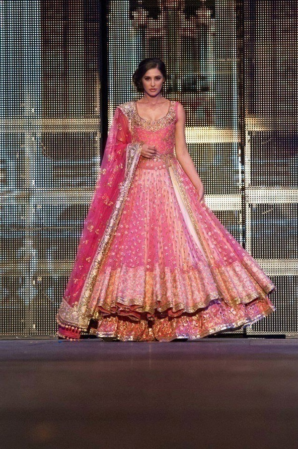 Voluminous and beautiful pink bridal lehenga by Manish Malhotra