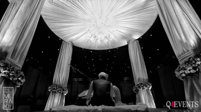 Black and White photo of the wedding mandap