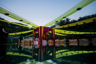 colourful drapes decor for the haldi cermony