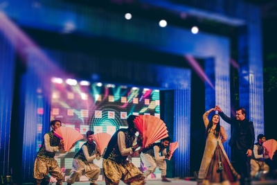 Traditional dance performance by family during Sangeet night