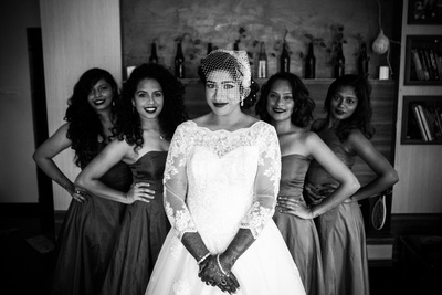 Bride and bridesmaids black and white photography.