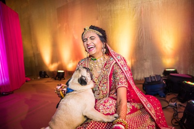 cute bridal shot with her dog