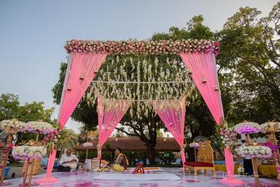 floral outdoor mandap decor