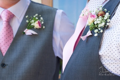 waistcoat with brooch of natural flowers for men in wedding