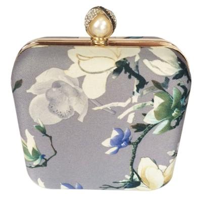 Princesse K Flower Square Grey Box Clutch