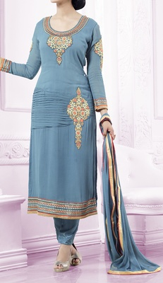 Viva N Diva sea blue colored faux georgette suit.