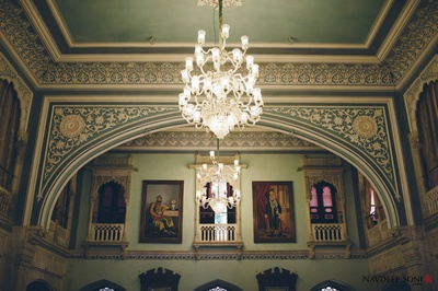 Royal crystal chandelier at the splendid interiors of Chomu Palace, Jaipur