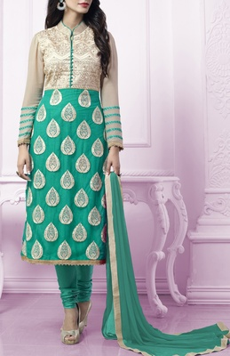 Viva N Diva sea green colored faux georgette suit.
