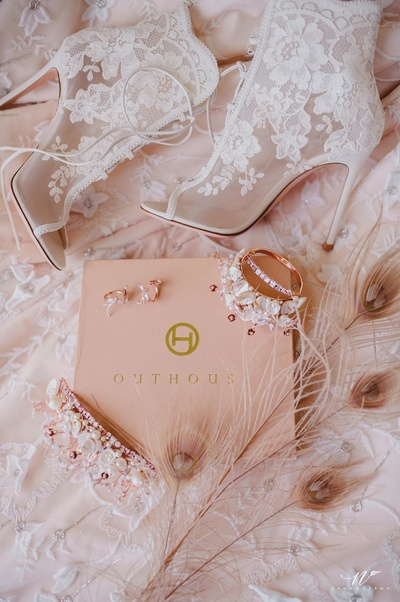 Bridal accessories in shades of blush and white