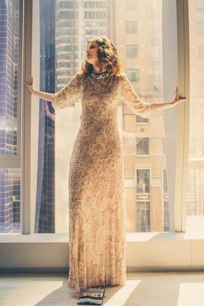 Shimmery Gold Wedding Gown
