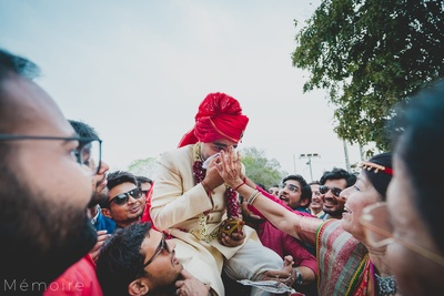 Groom covering his nose while tilak ceremony