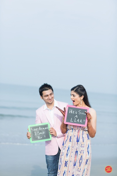 Cute pre wedding shot captured near beach