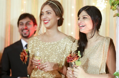 Gorgeous bridesmaid dresses in shimmery gold outlast a wedding