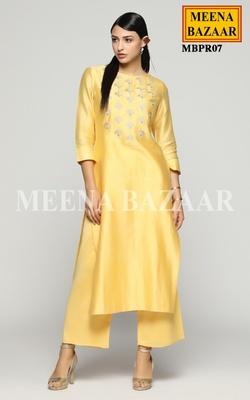 Meena Bazaar Yellow Chanderi Kurti