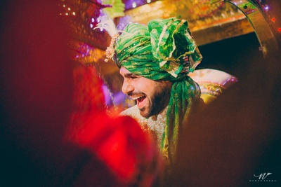 Groom and his barat enters into the main wedding mandap area