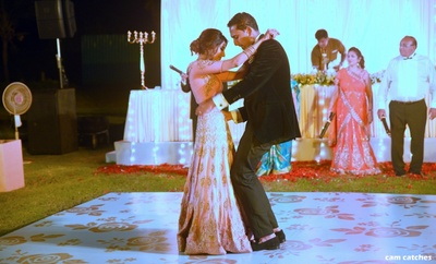 bride and groom's first dance for the sangeet ceremony