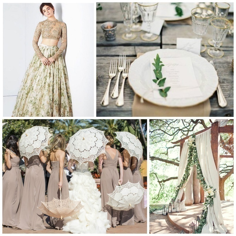Greenery, Natural White and Taupe