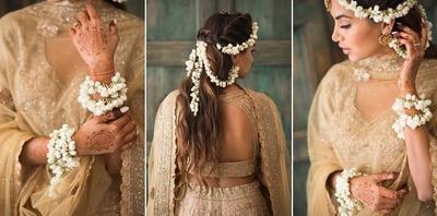 bridal haldi look in a golden lehenga