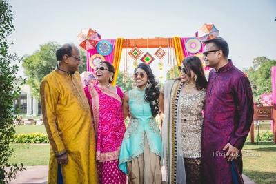 Happy family pictures taken during the mehndi function at  Taj Jai Mahal Palace, Jaipur