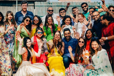 Bride and family photo after the mehendi ceremony