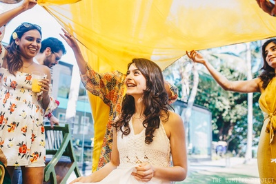 A smiling bride, happy friends and stunning decor!