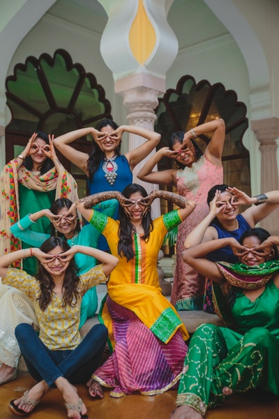 Some bride and bridesmaids fun for the mehendi ceremony.