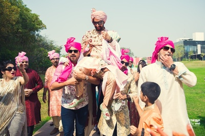 groom's grand baraat entry to the wedding ceremony