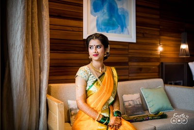 Trupti posing for a candid wedding photography session with Knots by AMP