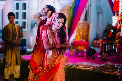 Bride and groom during their sangeet night dance performance