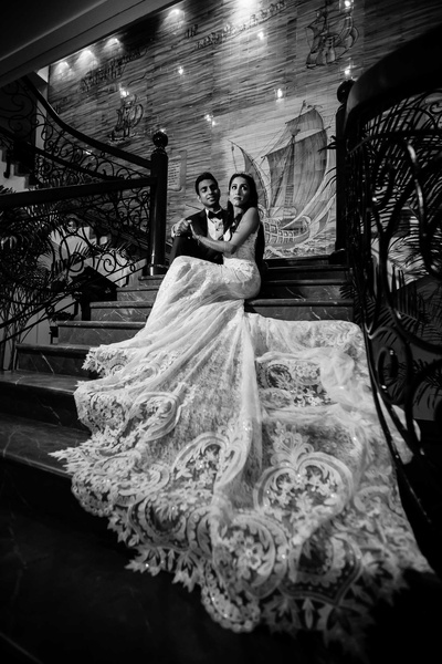 Black and white portrait of the bride and groom ready for their sangeet night