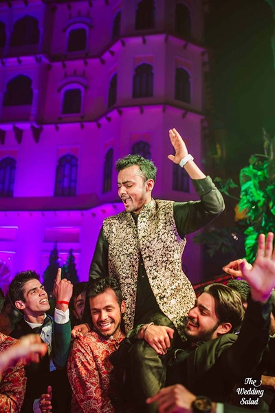 Groom and his groomsmen during the sangeet function