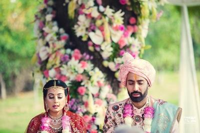 bride and groom closeup shot as the wedding ceremony progresses
