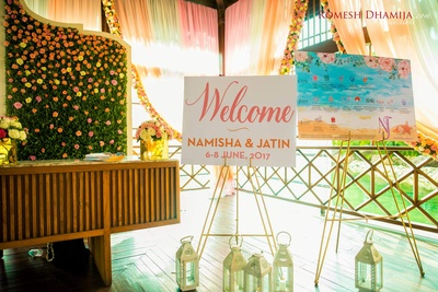 welcome board to their exquisite goan wedding!