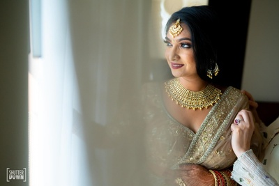 the bride getting ready for her wedding ceremony