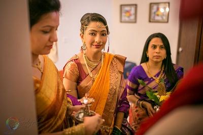 Purple and mustard silk saree syled with heirloom cut diamond studded wedding jewellery