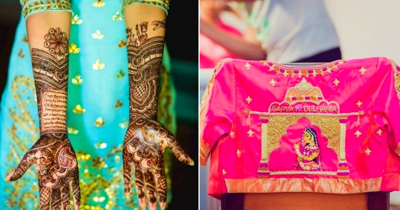 Real brides who told their love story through their lehengas, saree blouses, mehendi & more!