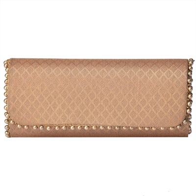 Tarusa Golden Brocade Clutch with pearl lace