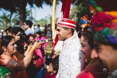 Baraatis arriving at the wedding venue.